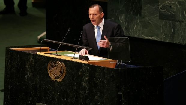 Prime Minister Tony Abbott, pictured at the UN General Assembly in New York last year, has been criticised in the US for ...