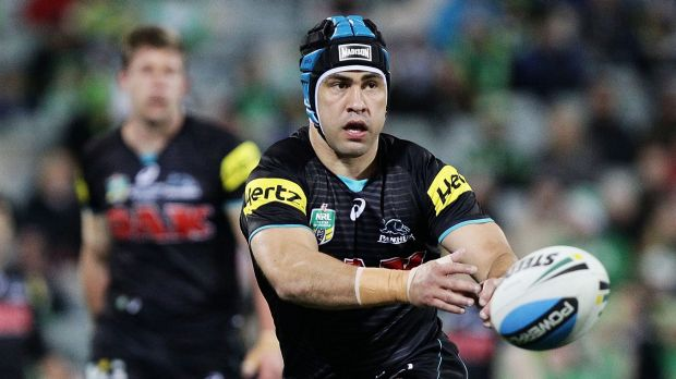 Under pressure: Panthers five-eighth Jamie Soward.