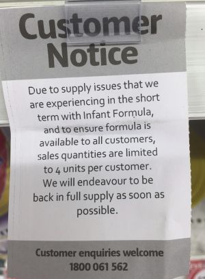A notice from an Australian supermarket detailing the ration.
