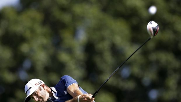 Driving for show: Dustin Johnson in action.