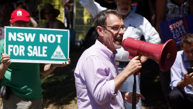 NSW Greens MLC John Kaye protests TAFE cuts.