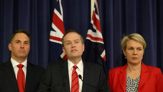 Labor's immigration spkesman Richard Marles, leader Bill Shorten and deputy Tanya Plibersek may not be on the same page ...