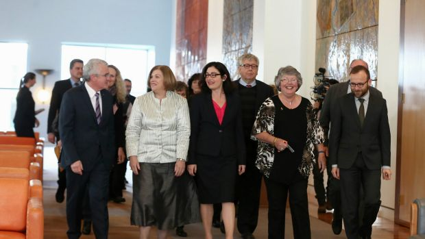 Co-sponsors of the cross-party marriage equality legislation in Canberra on Monday.