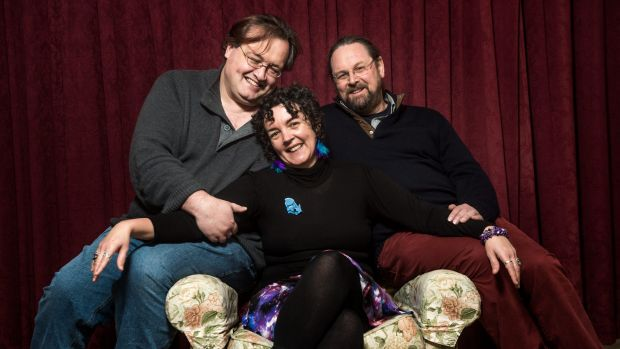 Anne Hunter with partner Peter Haydon, right, and friend James Dominguez.