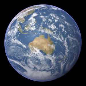 A satellite image of the Earth centred on Australia.