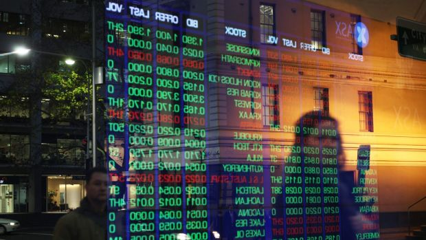 Australian shares shown on a stock exchange board.