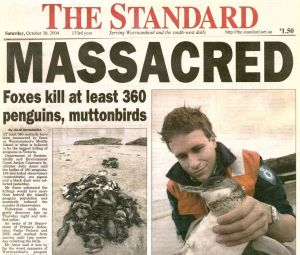 Sad news for a coastal town ... the front page of the <i>Warrnambool Standard</i> from October 20, 2004.