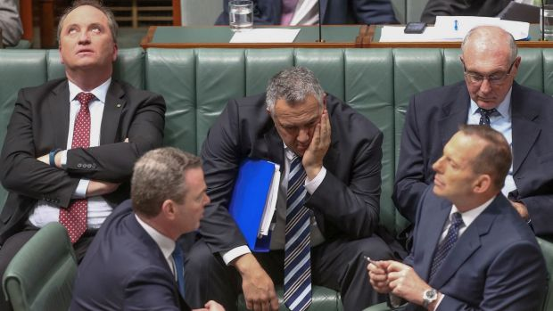 Warren Truss (rear, right) during question time on Tuesday with  Agriculture Minister Barnaby Joyce (left), Leader of ...