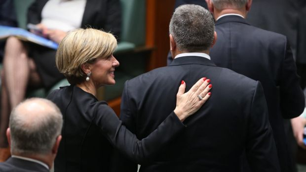 Julie Bishop and Joe Hockey depart question time last month.