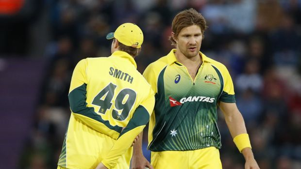 Steve Smith has words of advice for Shane Watson during the one day match against England in Southampton last week.