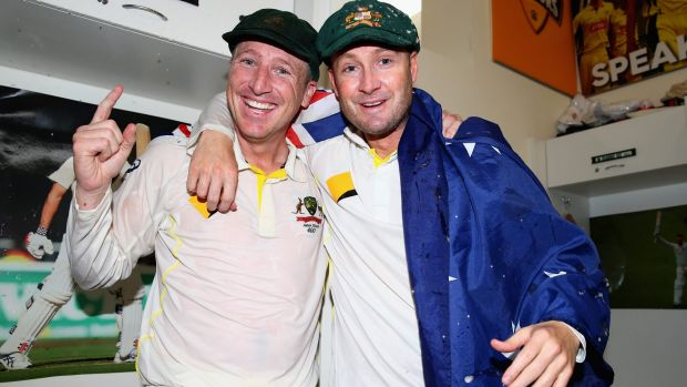 Brad Haddin and Michael Clarke of Australia celebrate the Ashes victory in 2013.