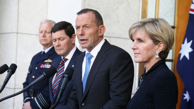 Chief of the Defence Force Mark Binskin, Defence Minister Kevin Andrews, Prime Minister Tony Abbott and Foreign  ...
