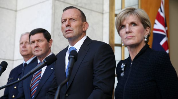 Chief of the Defence Force Air Chief Marshal Mark Binskin, Defence Minister Kevin Andrews, Prime Minister Tony Abbott ...