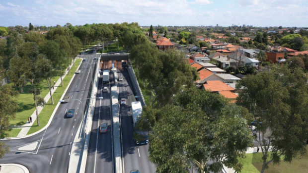 An artist's impression of the Wattle Street interchange, looking south towards Parramatta Road above the portal entry ...