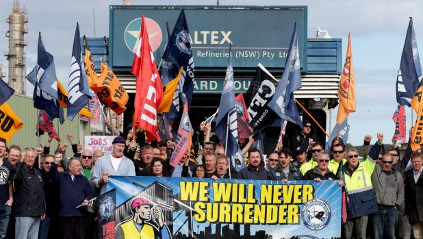 Australian maritime workers rally in July in support of the then Australian crew.