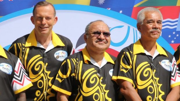 Prime Minister Tony Abbott poses with PNG Prime Minister Peter O'Neill, Anote Tong of Kiribati at the Pacific Island ...