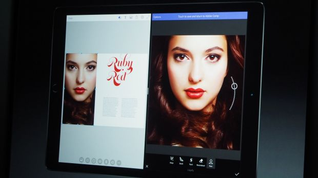 'Adobe Fix' is demonstrated on the new iPad Pro in parallel with layout software Adobe Comp.