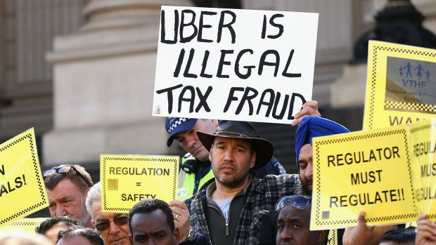 Taxi drivers protesting n Melbourne this morning.