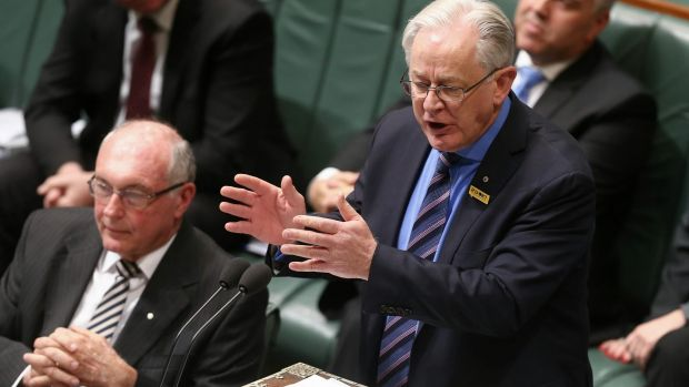 Trade Minister Andrew Robb spruiks the China free trade deal in Parliament.