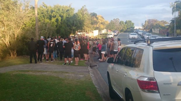 About 100 people hav gatherd in a vigil for Tara Brown at Molendinar on the Gold Coast.