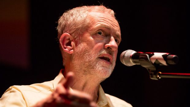 Jeremy Corbyn speaks to supporters at the Rock Tower, London, on September 10.