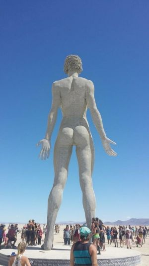One of the many statues and artworks that adorn the desert for Burning Man.