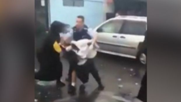 The brawl captured on a mobile phone camera.