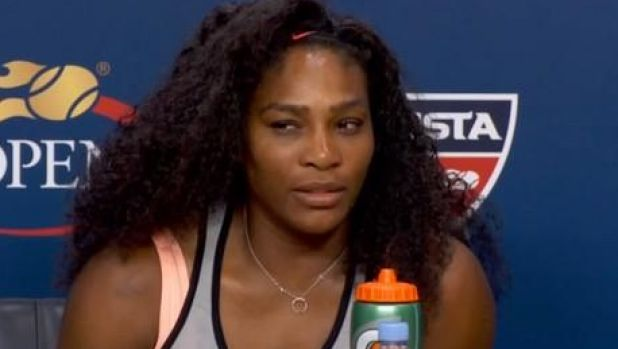 Not in a smiling mood: Serena Williams after beating her sister Venus.