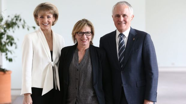 Senator Michaelia Cash with Rosie Batty and Communications Minister Malcolm Turnbull at Parliament House in Canberra ...