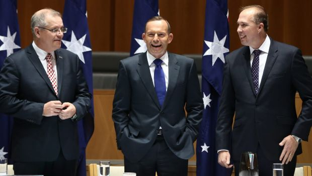 Mr Morrison, Mr Abbott and Mr Dutton laugh at the joke.