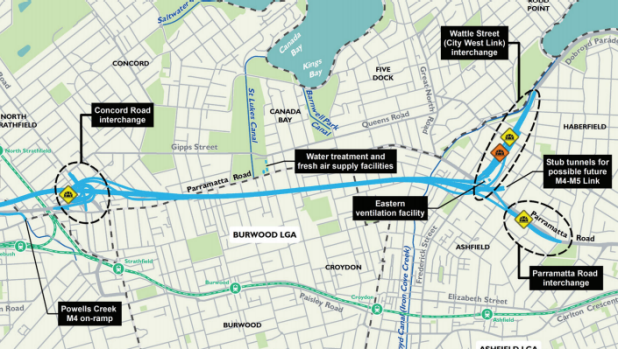 The WestConnex M4 East tunnel, running largely south of Parramatta Road.
