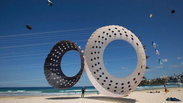 Set to soar: Massive kites are ready to fly in the festival of kites at Bondi Beach on Saturday.