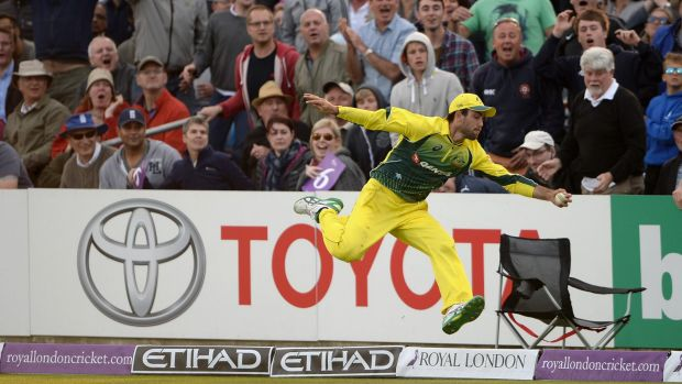 Glenn Maxwell completes his catch of Liam Plunkett back in the field of play.