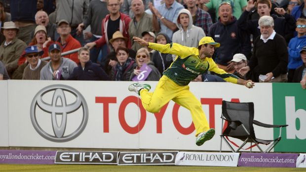 Glenn Maxwell completes his catch off Liam Plunkett back in the field of play.