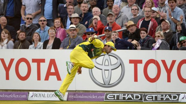 Classic catch ... Glenn Maxwell flings the ball up in the air before stepping over the boundary line during his catch of ...