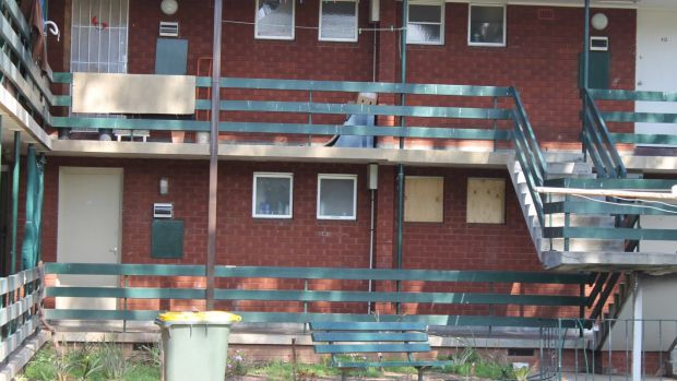 The Carwright unit block where Ian Stanbury was found suffering serious head injuries.