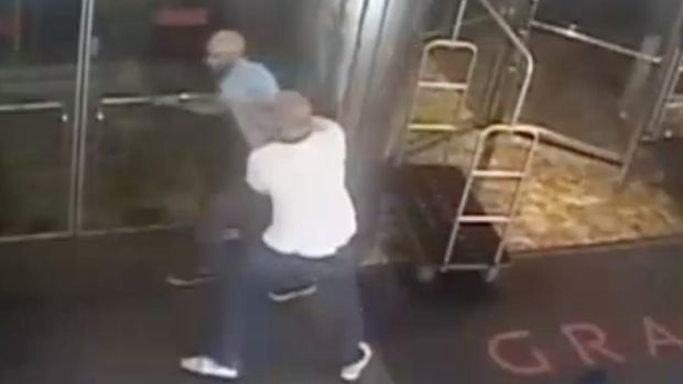 Wrongful arrest: former tennis star James Blake is wrestled to the ground by a New York detective.