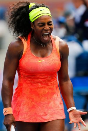 Serena Williams reacts to losing a point against the Italian.