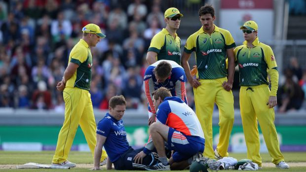 Morgan receives treatment after being struck on the head.