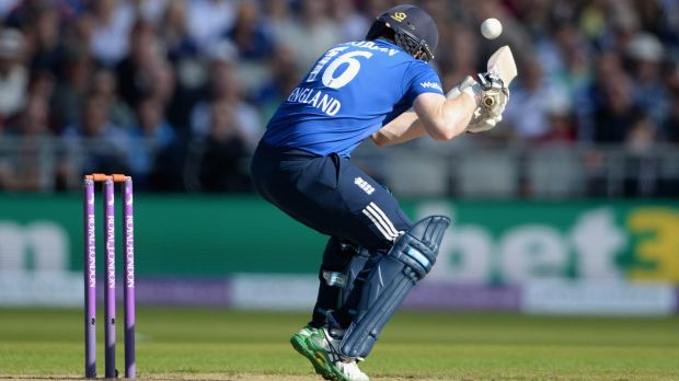 England captain Eoin Morgan is struck on the helmet by a ball from Mitchell Starc during the 5th one-day international ...