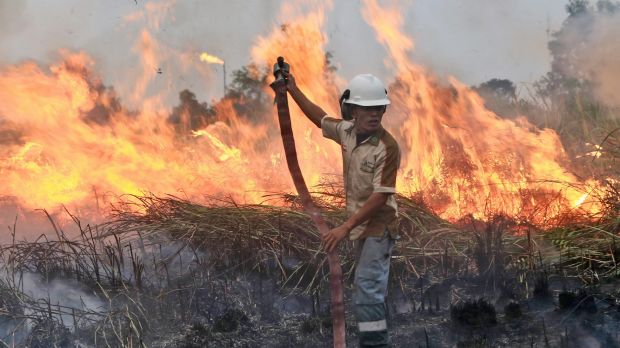 A fireman works to contain a blaze in Ogan Ilir, South Sumatra, Indonesia, at the weekend.
