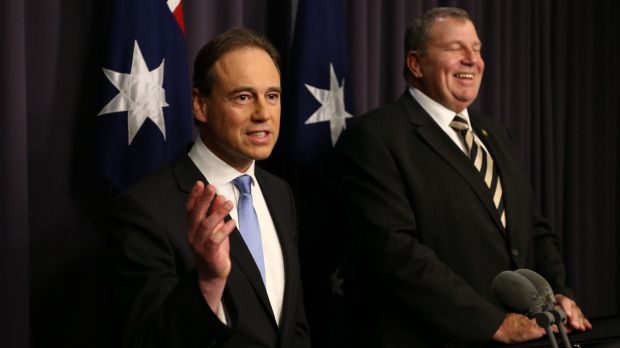 Environment Minister Greg Hunt with Bob Baldwin on Monday.