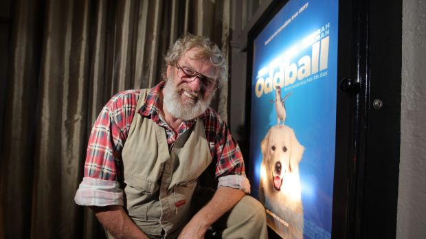 Swampy Marsh, in his best dress overalls, at the launch of <i>Oddball</i>.