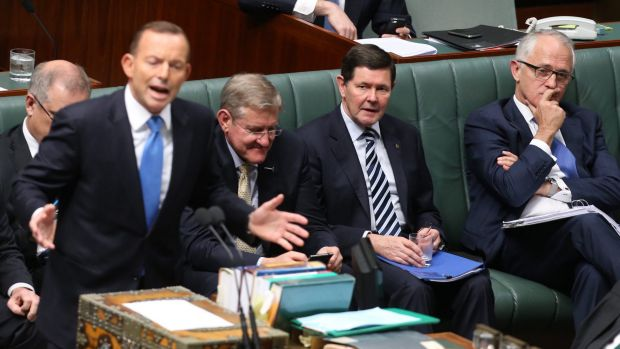 Prime Minister Tony Abbott and Malcolm Turnbull during question time before the announcement of the spill.