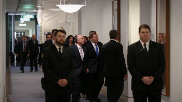 Former prime minister Tony Abbott returns to the Prime Minister's office after losing the leadership ballot on Monday night.