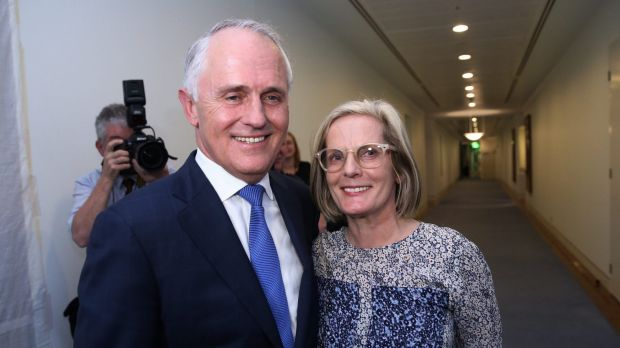 Prime Minister elect Malcolm Turnbull with his wife Lucy in Parliament House on Monday.