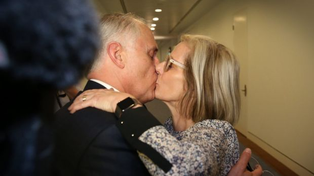 Prime Minister elect Malcolm Turnbull kisses his wife Lucy in Parliament House in Canberra on Monday.