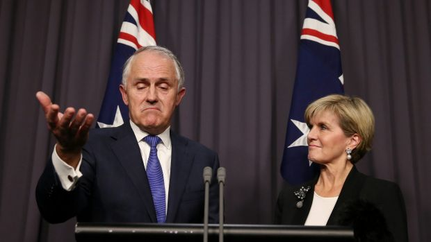 Prime minister elect and Julie Bishop in Canberra on Monday night.