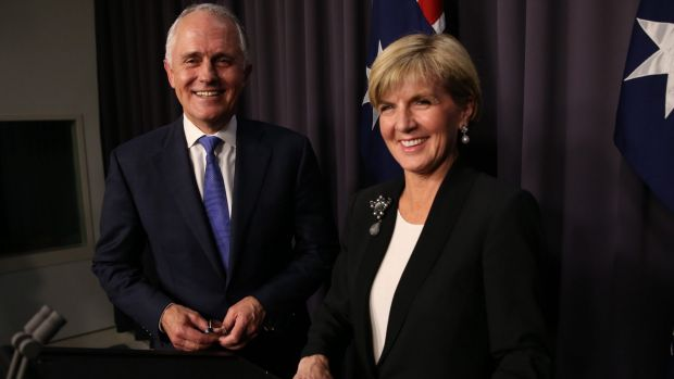Prime Minister designate Malcolm Turnbull with re-elected deputy Liberal leader Julie Bishop on Monday night.