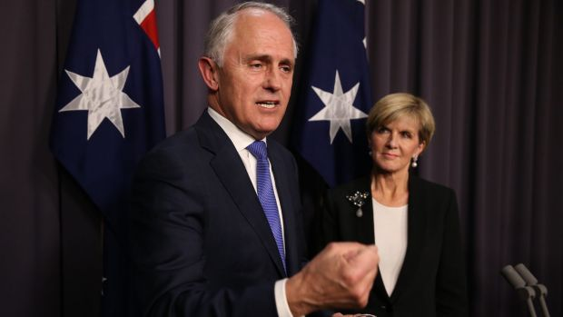 Malcolm Turnbull and Julie Bishop after the vote.